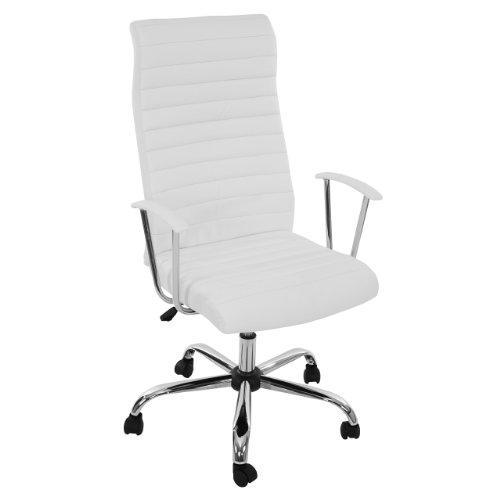 Mendler Fauteuil/Chaise de Bureau Cagliari, Ergonomique, Simili-Cuir, Blanc