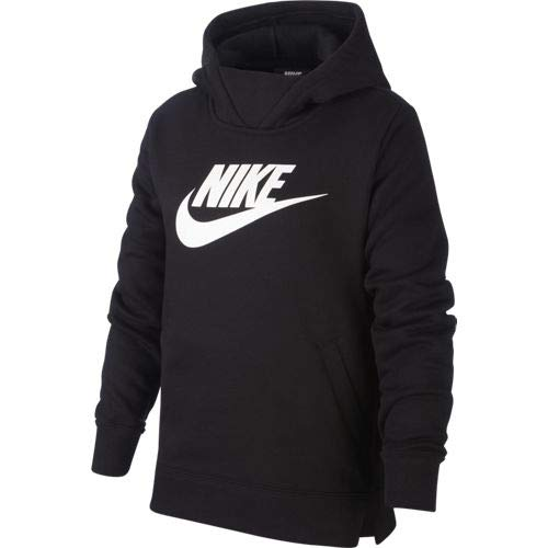 Nike G NSW PE Pullover Sweat-Shirt Fille Black/(White) FR: L (Taille Fabricant: L)