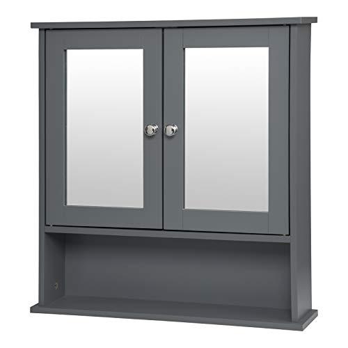 EUGAD 0135WY Armoire de Toilette avec Miroir Meuble Murale de Salle de Bain en MDF avec 3 tablettes 56x13x58,3cm,Gris