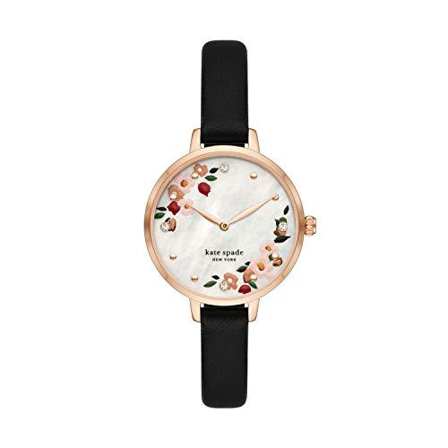 kate spade new york Women's Metro Stainless Steel Quartz Watch with Leather Strap, Black, 10 (Model: KSW1698)
