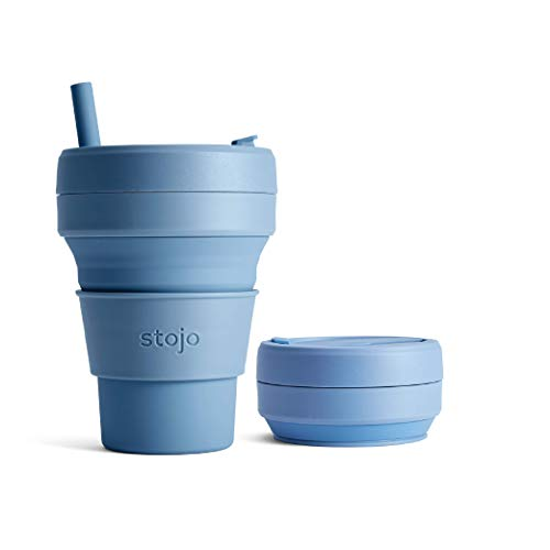 Stojo Collapsible Coffee Reusable to Go Pocket Size Travel Cup (Steel Blue, 16oz / 470ml)