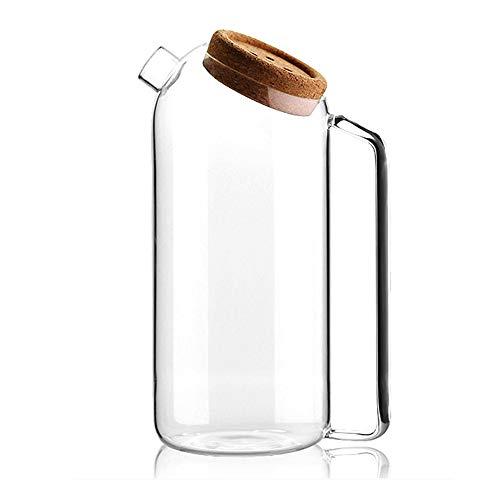 1 stks glazen pot met kurk zeef glas Pitcher hittebestendige grote capaciteit sap pot koude ketel borosilicaat glas Tie pot koken water theepot water container opslag L
