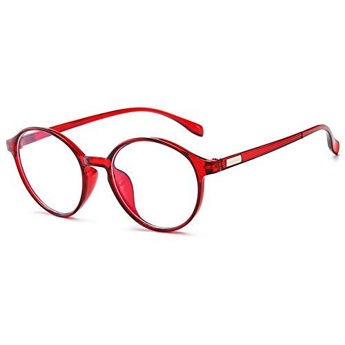 KOOSUFA Blaulichtfilter Brille Retro Rund Ultra Licht TR90 Brillengestelle Anti Blaulicht Brillen Ohne Sehstärke Herren Damen Computerbrille Gaming Brille Anti Müdigkeit mit Etui (Durchsichtig Rot)
