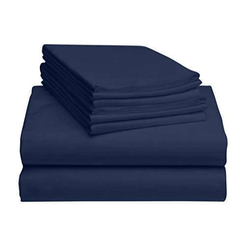 LuxClub 6 PC Sheet Set Bamboo Sheets Deep Pockets 18' Eco Friendly Wrinkle Free Sheets Hypoallergenic Anti-Bacteria Machine Washable Hotel Bedding Silky Soft - Navy Queen