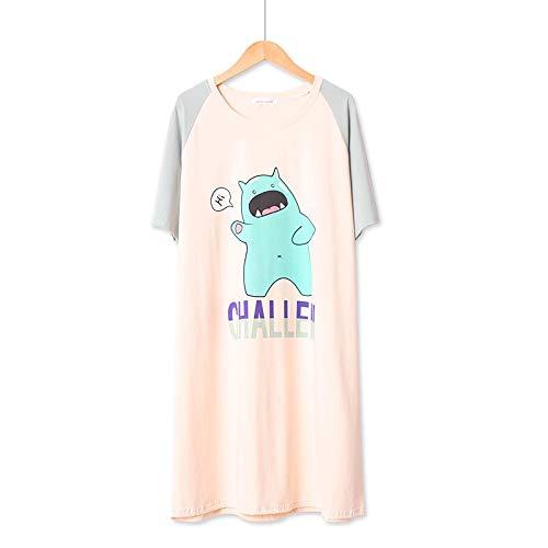 XFLOWR Damen Nachthemd Komfort Baumwolle Schlafkleid Kurzarm Weiblich Niedlich Cartoon Gedruckt Sommer Und Frühling Frauen Lose Homewear Kleid One Size