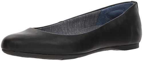 Dr. Scholl's Shoes womens Giorgie Ballet Flat, Black Smooth, 8.5 Wide US