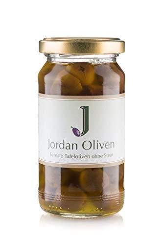 Jordan Oliven | Feinste Tafeloliven ohne Stein in Jordan Olivenöl | 180g Glas