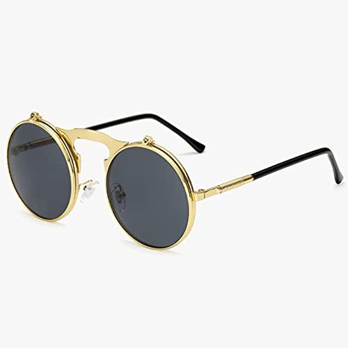 Lsdnlx Gafas de Sol,Gafas de Sol Redondas para Hombre, Gafas de Sol con Revestimiento de Espejo, Gafas de Sol Retro, Gafas UV400