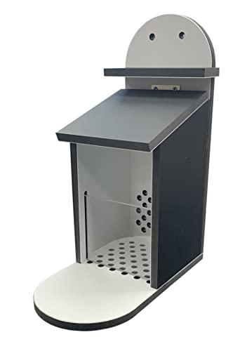 TropicShop Eichhörnchen Futterbox | Eichhörnchen Futterstation - Wetterfest aus Kunststoff - Futterautomat/Futterspender für Eichhörnchen (Schwarz/Grau)