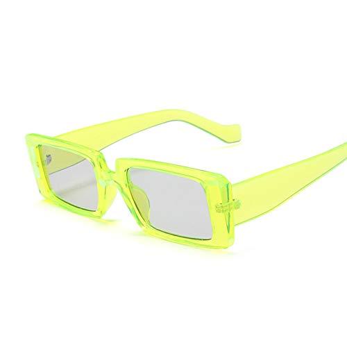 NJJX Gafas De Sol Cuadradas De Moda Para Mujer, Gafas De Sol Rectangulares Retro Vintage Para Mujer, Espejo Negro Pequeño, Verde Amarillo