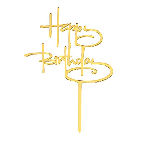 Happy Birthday Cake Topper,Acrylic Birthday Cake Decorations Party Supplies Gold