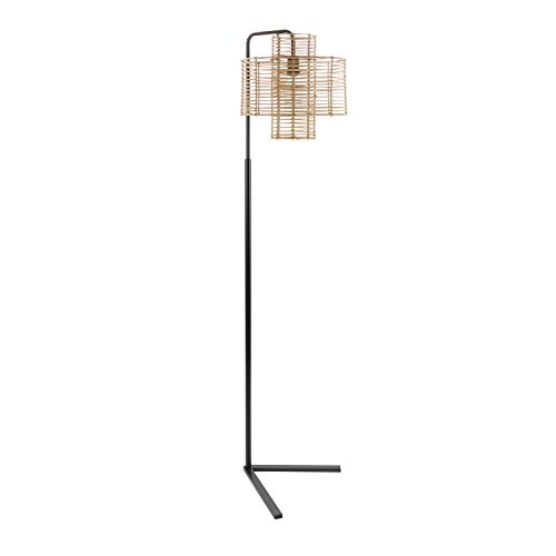 "70"" Cyndi Hangover Silverwood Floor Lamp (Includes LED Light Bulb) Black/Tan - Decor Therapy"
