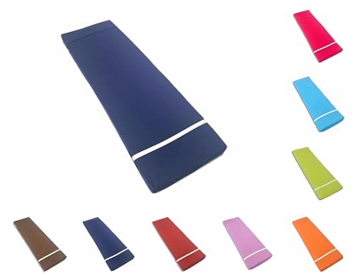 TIENDA EURASIA® Cojín para Tumbona Exterior de Jardín - Colores Surtidos - Colchoneta 180 x 55 x 8 cm - Funda de Tela y Relleno Acolchado de Fibra (Azul Marino)