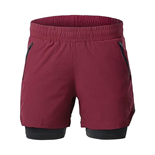 SFITVE Pantalones Cortos de Deporte 2 en 1 para Hombre, Pantalones Cortos de Gimnasio con Bolsillo Trasero con Cremallera,Secado RáPido Short Deportivo con Tiras Reflectantes en(Size:XL,Color:Rojo)