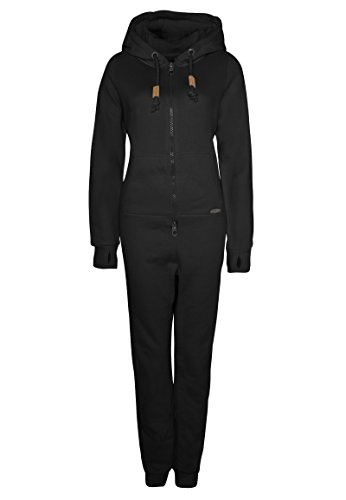 Eight2Nine Damen Sweat Overall | Kuscheliger Jumpsuit | Einteiler aus bequemen Sweat-Material einfarbig Black S/M - 2