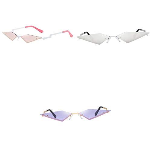 MagiDeal Gafas de Sol Sin Montura Estilo Ojo de Gato Delgado de Moda para Mujer de 3 Piezas