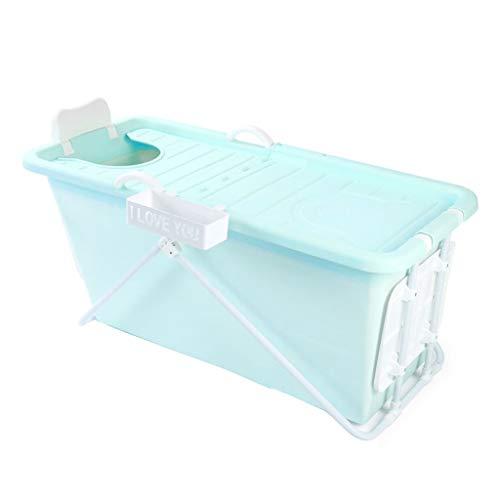 Folding Bathtub Bañera Plegable portátil, bañera para Adultos, bañera Infantil para bebés, bañera de plástico, Aislamiento Grueso, Espacio Grande Azul