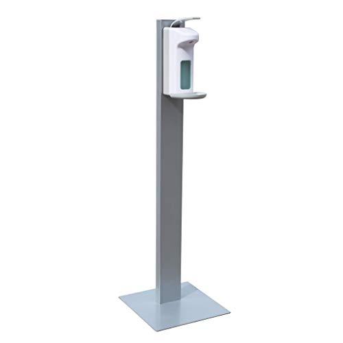 Hygiene-Station mittelschwere Ausführung 130cm aus Metall für Kunden und Mitarbeiter - mobile Handdesinfektion mit Seifenspender