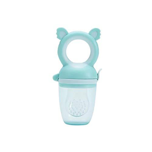 Alimentador de frutas para bebés, Chupetes alimentadores de alimentos para bebés para aliviar la dentición, Mordedor de juguete para la dentición de bebés de 0 a 6 meses (Blue pacifier)