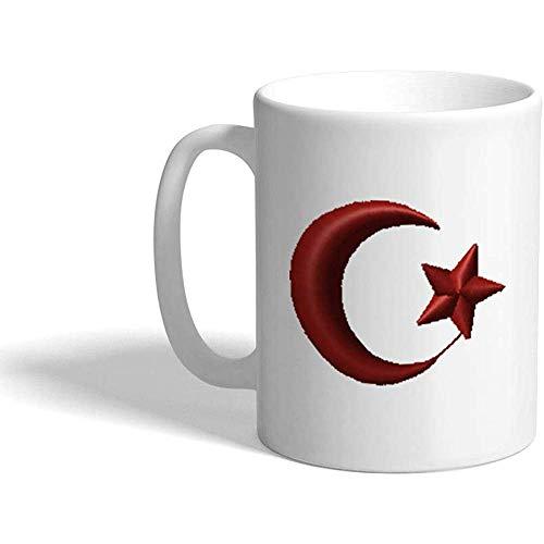 Kaffee Haferl Algerische Mond-und Stern-Typografie u. Symbol-keramische Tee-Schale