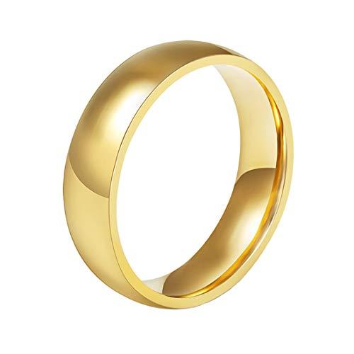 HIJONES Joyería Mujers Hombres Acero Inoxidable 6MM Oro Anillo Plateado Talla 22