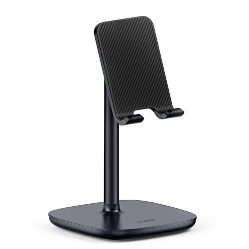 UGREEN Handy Ständer Tisch Handy Halterung verstellbar Handy Halter Smartphone Ständer kompatibel mit iPhone 11 Pro X 8 Plus, Samsung M30s M20 S10, Huawei P30 Pro P20 Pro, iPad Mini 2 3 4 usw.Schwarz