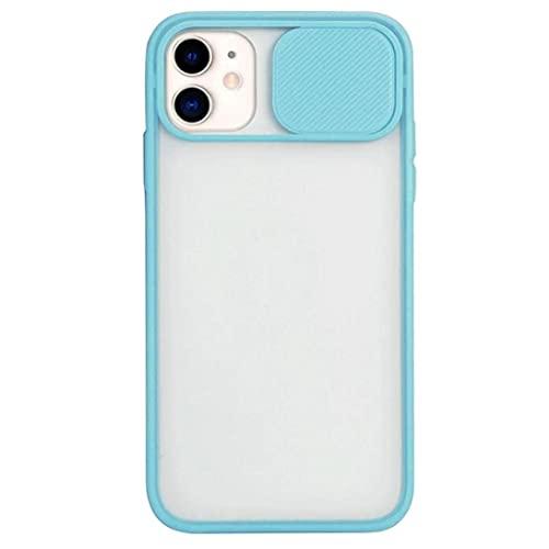Del color del caramelo transparente claro de la caja del teléfono del iPhone trasera compatible con 12 Pro Max prueba de golpes Cielo Cubierta de protección esmerilado Delgado Teléfono Azul