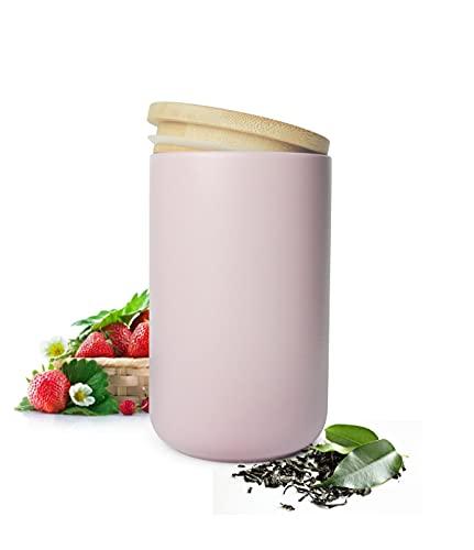 Sendez Vorratsdose Rosa/Lila aus Porzellan mit Holzdeckel Vorratsbehälter Dose Vorratsglas Aufbewahrungsdose
