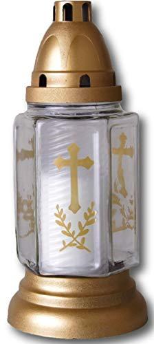HScandle Grabkerze aus Glas 24cm (Bella Weiß) Grablicht inkl. 1 Kerze ca. 40h Brenndauer, viele vers. Sets