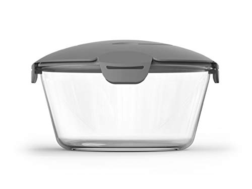 Lavino Glass Microwave Rice Cooker 62 oz, Microwave Pasta Cooker with Strainer 3.2 in Height, Glass Microwave Rice and Pasta Cooker, Comes with the Lid to Keep Your Food, BPA Free (Grey)