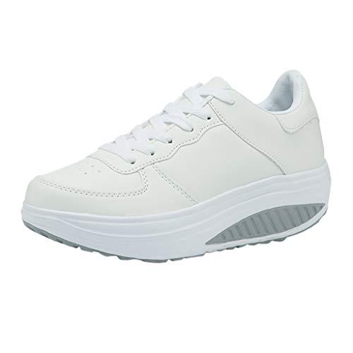 Harpily Zapatillas de Mujer, Zapatos Mujer con Adelgazar Zapatos Sneakers para Caminar Zapatillas Aptitud Cuña Plataforma Zapatos (37 EU, Blanco)