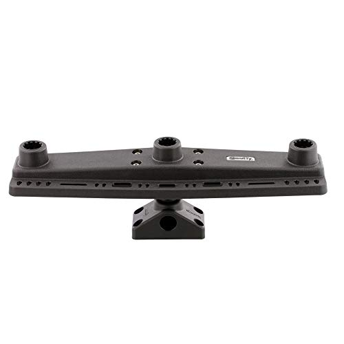 Scotty #257 Triple Rod Holder Board only (No Rod Holders) Includes Post Bracket and Mount, Black, Small