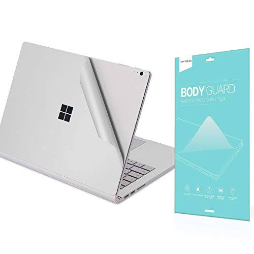 VFENG Premium 4-in-1 Full Body Skin Sticker Decals, Decorative Protector Skins for Microsoft Surface Book 2 13 Inch (i7 CPU Configuration Version)- Silver