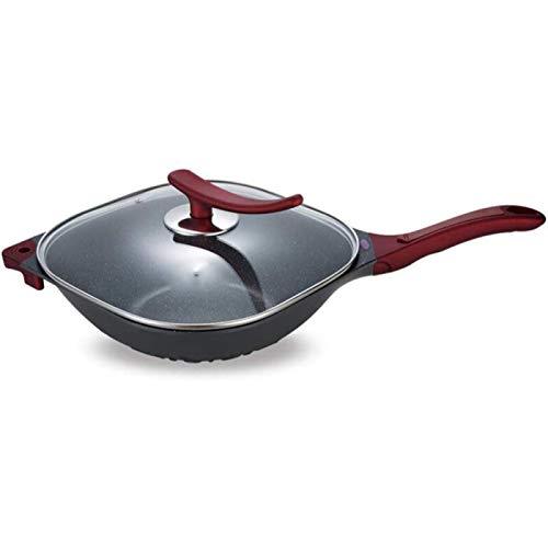 JiangKui Wok Stir-Fry Pans Frying Pans Flat-Bottom Wok Non-Stick Aluminium Multi-Ply Clad Coating Tempered Glass Free Send Sponge