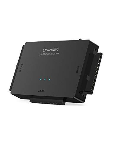 UGREEN USB 3.0 zu IDE Docking Station SATA auf USB 3 Konverter mit Netzschalter 2,5\'\' und 3,5\'\' SATA HDD und IDE HDD Adapter unterstützt CD/DVD Laufwerke Festplatten Lesegerät für extern SSD/HDD