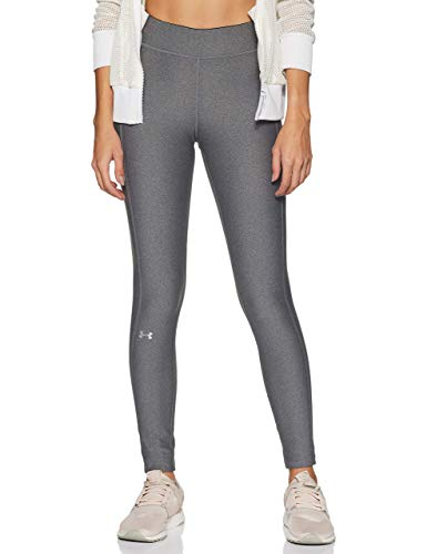 Under Armour UA Heatgear Leggings, Mujer, (Charcoal Light Heather/Charcoal Light Heather/Metallic Silver (019), L