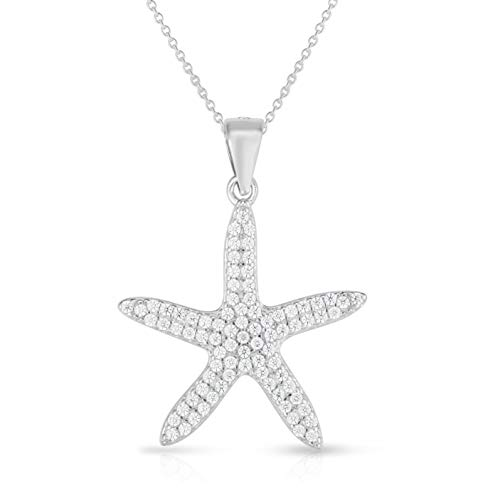 Unique Royal Jewelry 925 Sterling Silver All Clustered Pave Cubic Zirconia Starfish (Sea Star) Charm Pendant and 18' Necklace. (Rhodium-Plated Sterling Silver)