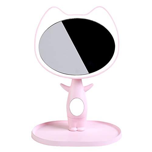 JFya Wiederaufladbarer Multifunktions-LED-Spiegel - 1200-mAh-Batterie, 95% Tageslichtsimulation, 90 ° -Einstellung, Berührungsschalter, kreatives Erscheinungsbild Einer Comic-Katze, weiß/pink