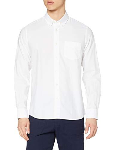 Marca Amazon - find. Regular Oxford - Camisa Hombre, Blanco (White), L, Label: L