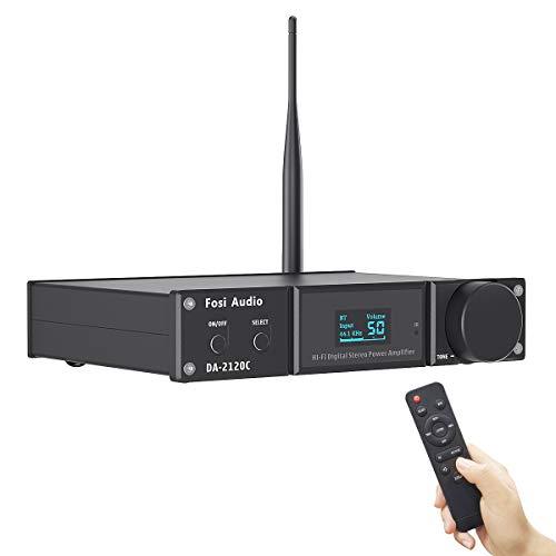 Fosi Audio DA2120C Amplificatore Bluetooth 120W x2 Stereo Hi-Fi 2.1 Canali Wireless Stream aptX, 24Bit/192kHz Classe D Mini Power Amp Compatto, DAC USB Ottico Coassiale Integrato, Supporto Subwoofer