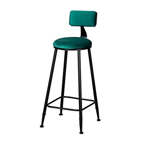 Accueil Tabouret de Bar Chaise de comptoir de Cuisine rembourrée en Velours Chaises en métal Noir Tabourets de Bar Tabourets Hauts Verts avec Dossier