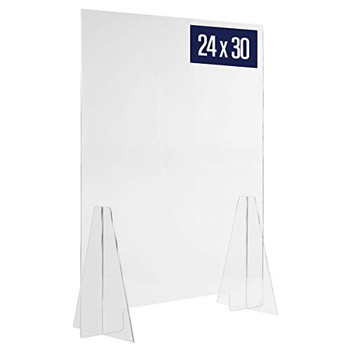 Sneeze Guard Acrylic Shield Barrier - 24'W x 30'H Durable Plastic Shield for Desktop or Counter. Self Standing Protection for Workplace, Store, Cashier, School, Pharmacy, Restaurant. Countertop Guard