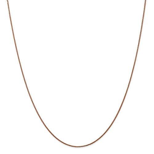 Diamond2deal 14K rosa oro 1.00mm spiga catena collana 61cm