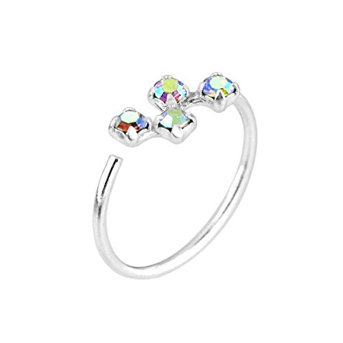 Monster Piercing Rainbow Claw Set 4 Round Stones 20 Gauge 925 Sterling Silver Open Hoop Nose Ring Jewellery