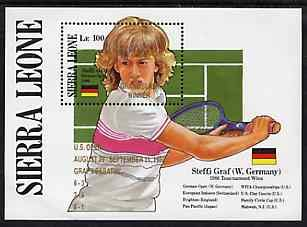 Sierra Leone 1988 Steffi Graf's Grand Slam Tennis Victories u/m m/sheet opt'd 'US Open - Graf v Sabatini' in gold, SG MS 1193 SPORT TENNIS JandRStamps