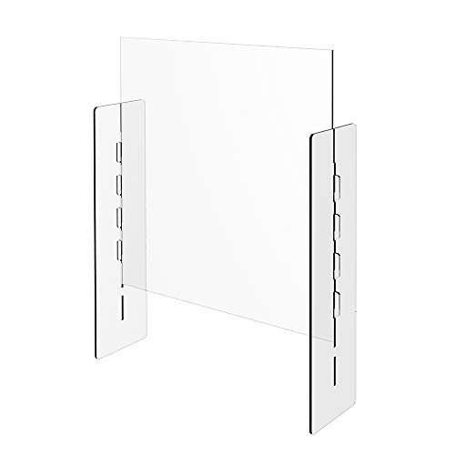 Adjustable Opening Portable Sneeze Guard - Adjustable Pass-Through Window - Freestanding Plexiglass Shield for Front desk, Receptionists, Cashiers, Clerks, Estheticians (28' x 30') - 285-SG30X30-ADJ