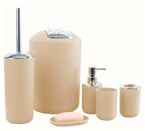Icegrey - Juego de Accesorios de baño de diseño Moderno de 6 Piezas, Botellas de loción, Soporte para Cepillo de Dientes, Taza para Dientes, jabonera, Cepillo de baño, Bote de Basura - Beige