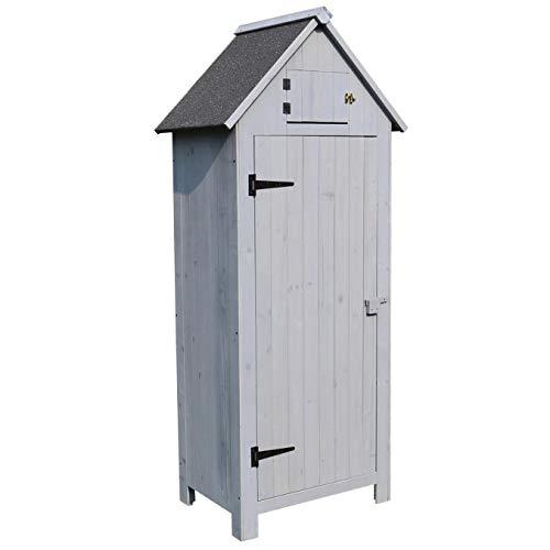 AIRWAVE Outdoor Bideford Garden Wooden Storage Cabinet/Tool Shed (Grey)
