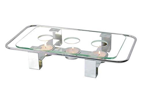 NewlineNY Geschirrwärmer, Glas, verchromt, rechteckig, 3 Löcher, Teelicht