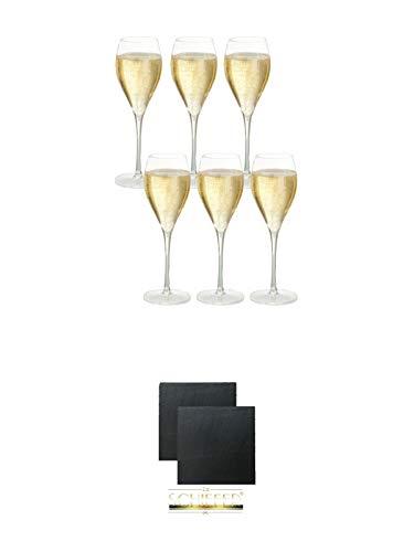 Taittinger Champagner Gläser 6er Pack + Schiefer Glasuntersetzer eckig ca. 9,5 cm Ø 2 Stück